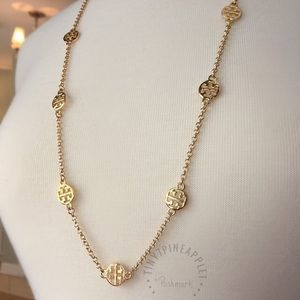 ✅🆕 TORY BURCH LOGO CHARMS GOLD NECKLACE
